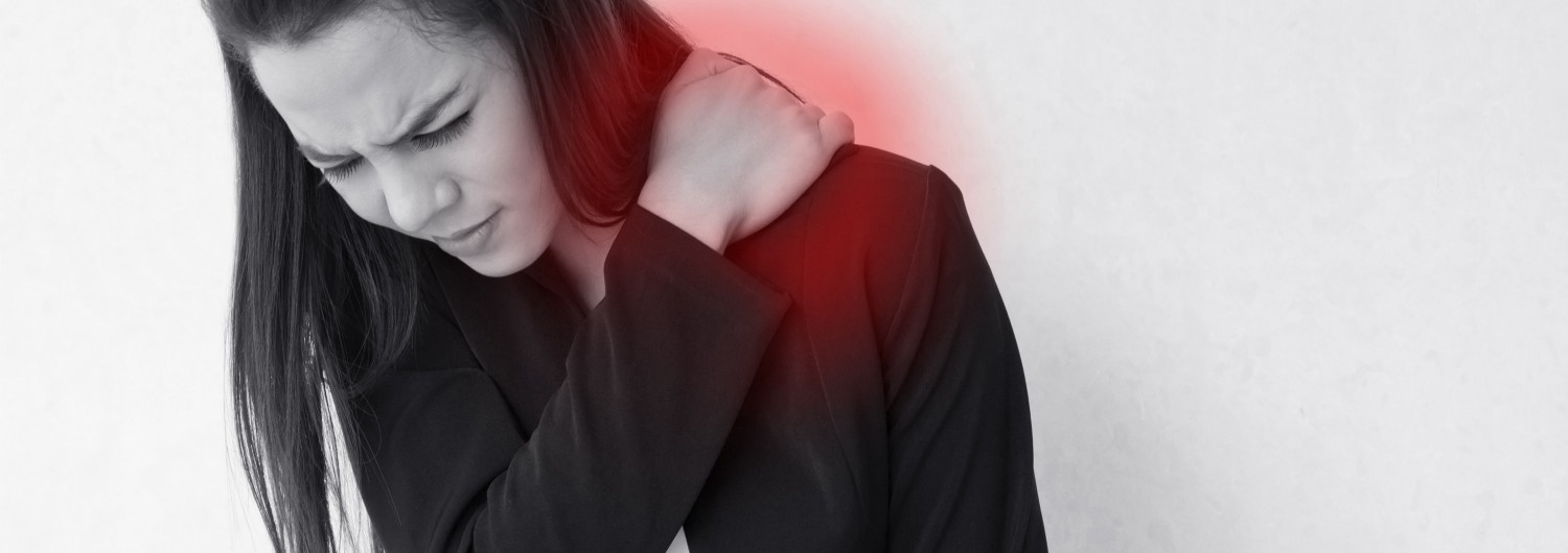 heavy shoulder pain or stiffness of business woman, concept of danger office syndrome at serious stage with red alert danger accent